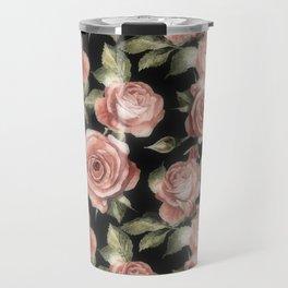 Classic Pink Roses On Black Travel Mug