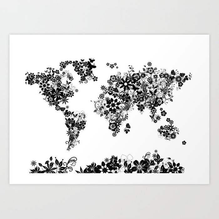 World map floral black and white art print by bekimart society6 world map floral black and white art print gumiabroncs Choice Image