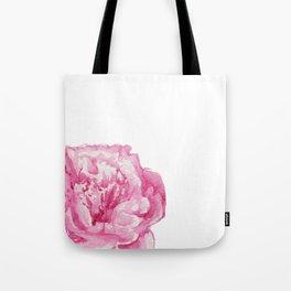 Pink Peony on White Tote Bag