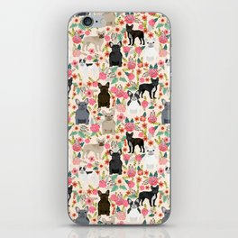 Frenchie floral french bulldog cute pet gifts dog breed must haves florals french bulldogs iPhone Skin