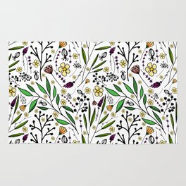 stylish pattern of herbs, flowers and leaves Rug