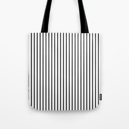 Black Pinstripe On White Pattern Tote Bag