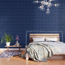 Navy Blue Nautical Pattern Wallpaper