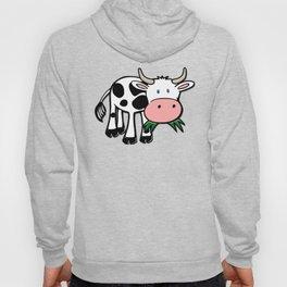 Black and White Steer Munching Grass Hoody