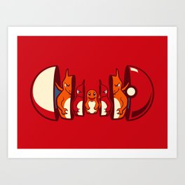 Poketryoshka - Fire Type Art Print