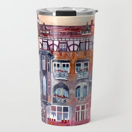 Apartment House in Poznan and orange umbrellas Travel Mug