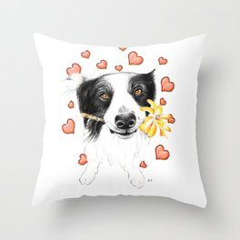Border Collie And Hearts Throw Pillow
