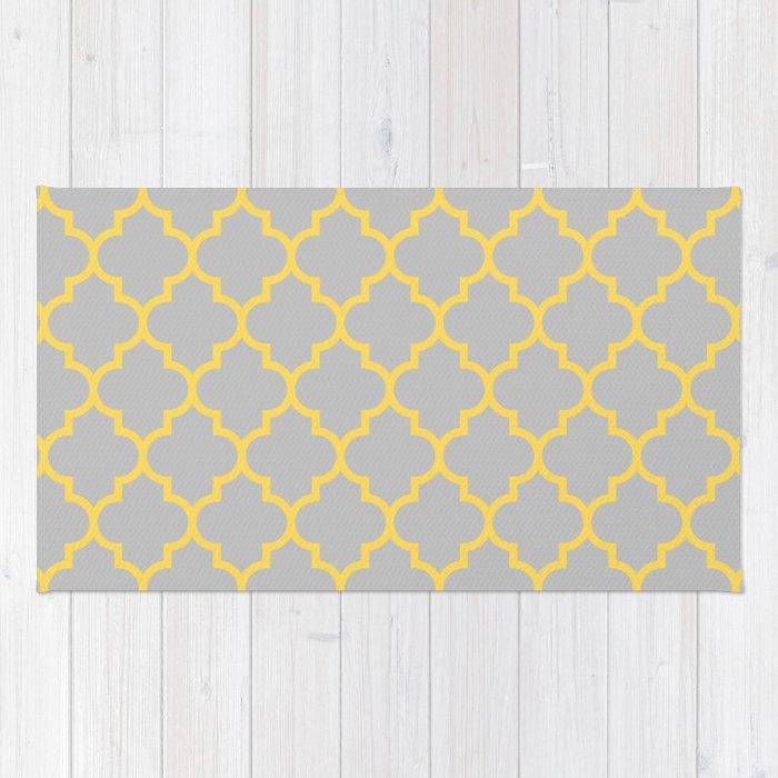 Mustard Yellow Moroccan Quatrefoil On Silver Gray Rug