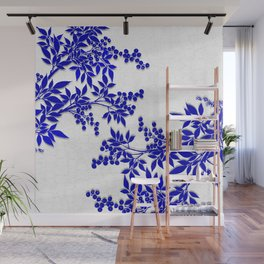BLUE AND WHITE  TOILE LEAF Wall Mural