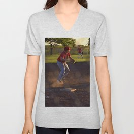 Baseball Action Unisex V-Neck