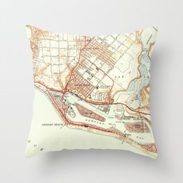 Vintage Map of Newport Beach California (1951) Throw Pillow
