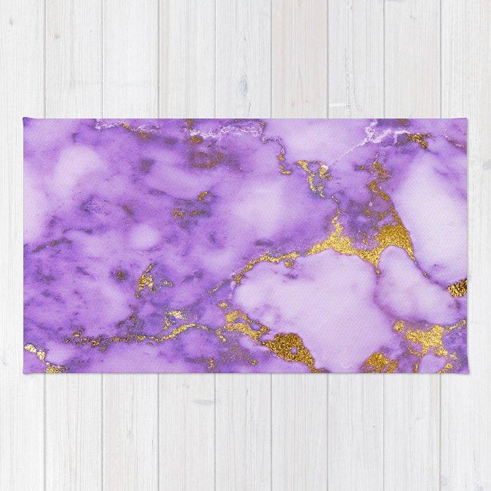 Purple Gilded Marble Rug