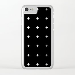 PLUS ((white on black)) Clear iPhone Case