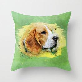 Beagle dog digital art Throw Pillow