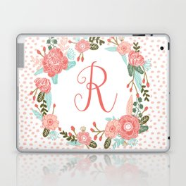 Monogram R - cute girls coral florals flower wreath, coral florals, baby girl, baby blanket Laptop & iPad Skin