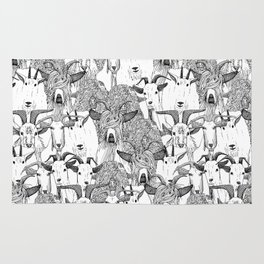 just goats black white Rug