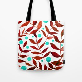 Watercolor berries and branches - red and turquoise Tote Bag