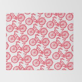 roule ma poule - wanna ride my bicycle red Throw Blanket