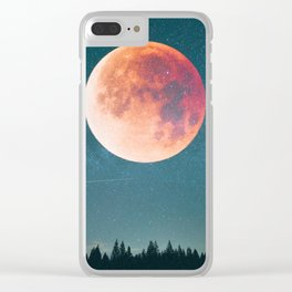 Blood Moon Over the Forest on a Starry Night Clear iPhone Case