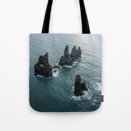 Sea stacks on the Icelandic Coast near Vik - Landscape Photography Tote Bag