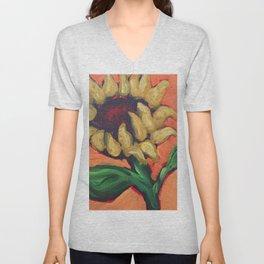 Orange Sunflower Unisex V-Neck