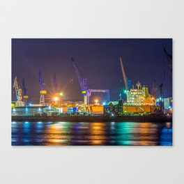 Port of Hamburg at night with colorful illumination Canvas Print