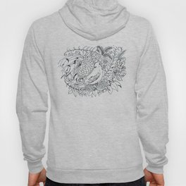 Sketched bird and flowers Hoody
