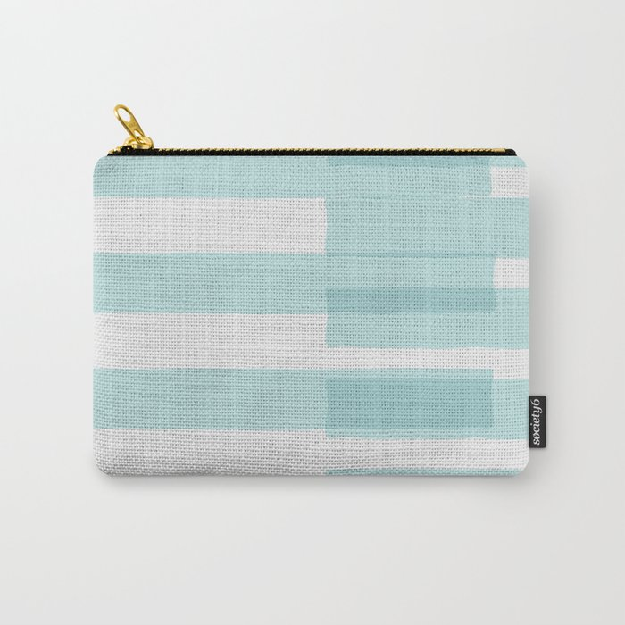 Big Stripes In Turquoise Carry-All Pouch