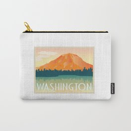 WASHINGTON STATE - Mount Rainer, Vintage Inspired Postcard Carry-All Pouch