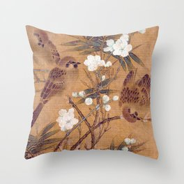 Sparrows, plum blossoms, and bamboo Throw Pillow