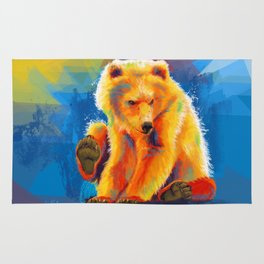 Play with a Bear - Animal digital painting, colorful illustration Rug