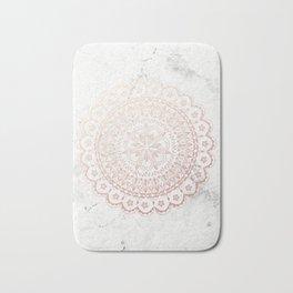 Rose gold mandala and grey marble Bath Mat