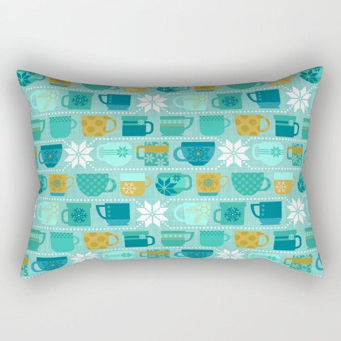 Snow Day Mugs - Teal Rectangular Pillow