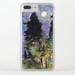 Campfire Under a Full Moon Clear iPhone Case