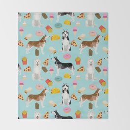 Husky siberian huskies junk food cute dog art sweet treat dogs pet portrait pattern Throw Blanket