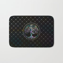 Glowing symbol for Vriksasana - Yoga Tree pose Bath Mat