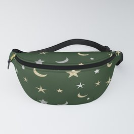 Gold and silver moon and star pattern on green background Fanny Pack