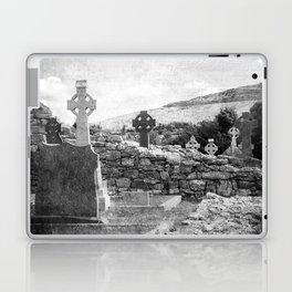 Halloween Graveyard | Horror | Black and White Cemetery | Gothic Graves | Laptop & iPad Skin
