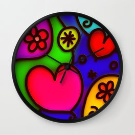 Colorful Modern Love 2 Wall Clock