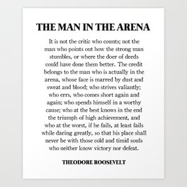 photograph about The Man in the Arena Printable identified as Typography Artwork Prints Culture6