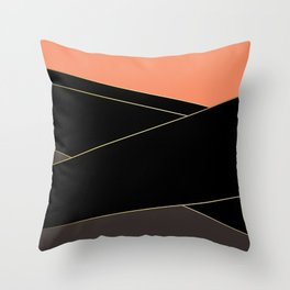 Angelica . Coral , black , brown Throw Pillow