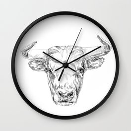 Bull illustration Wall Clock