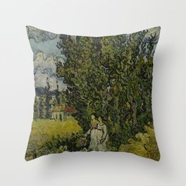 Cypresses and Two Women Throw Pillow