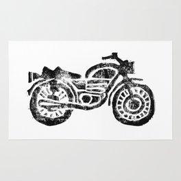 Motorcycle Linocut Block Print Rug