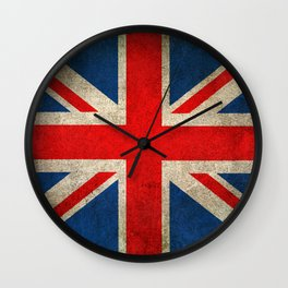 Old and Worn Distressed Vintage Union Jack Flag Wall Clock