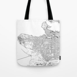 Vancouver White Map Tote Bag