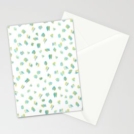 Blue / Yellow Abstract Watercolor Pattern Stationery Cards