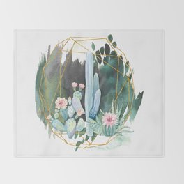 cactus garden Throw Blanket