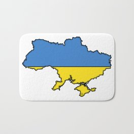 Ukraine Map with Ukrainian Flag Bath Mat