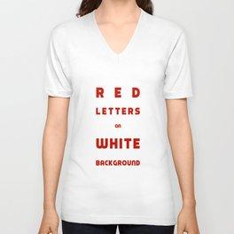 Red on White Unisex V-Neck
